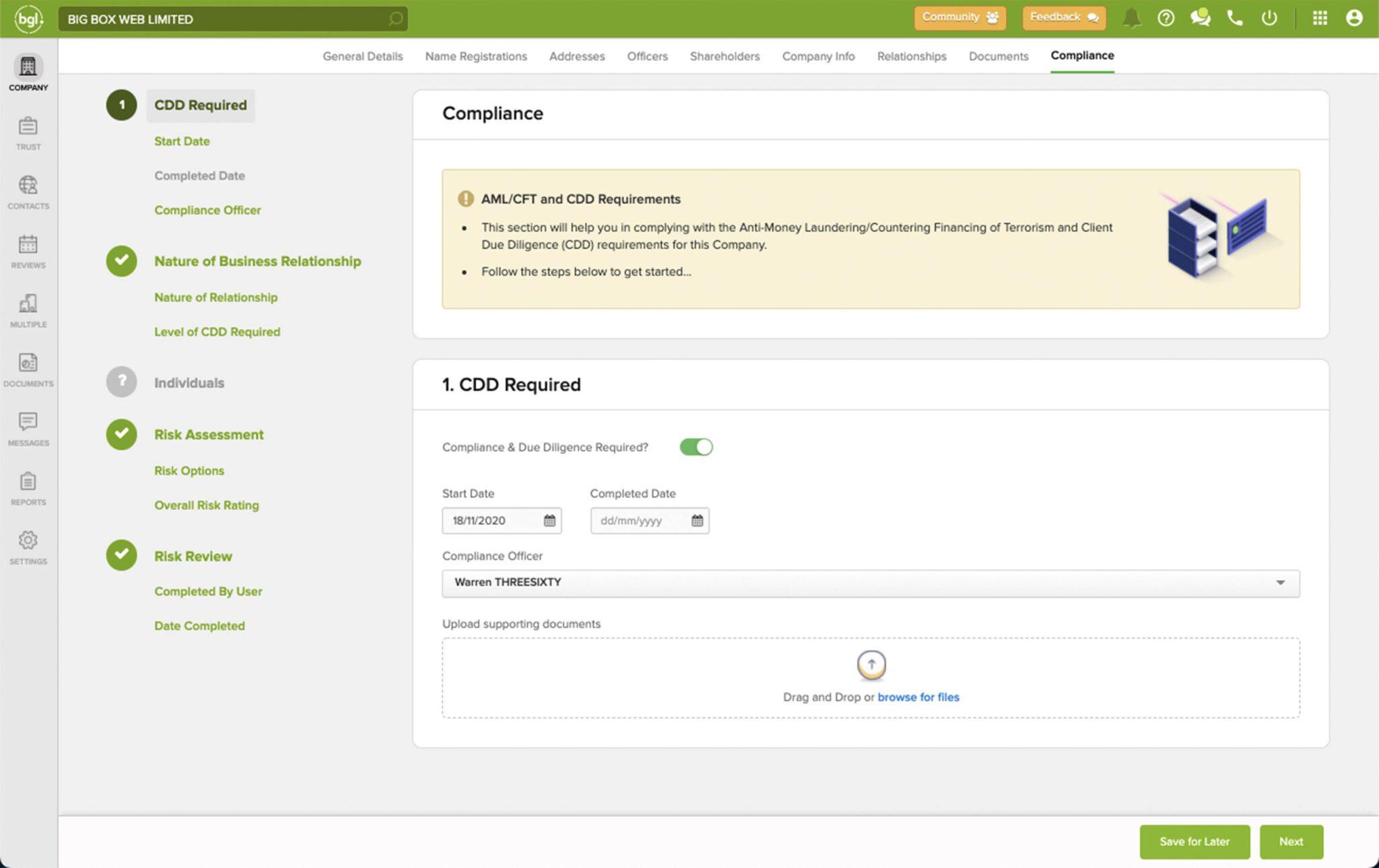 AML/CFT & CDD Compliance User Interface