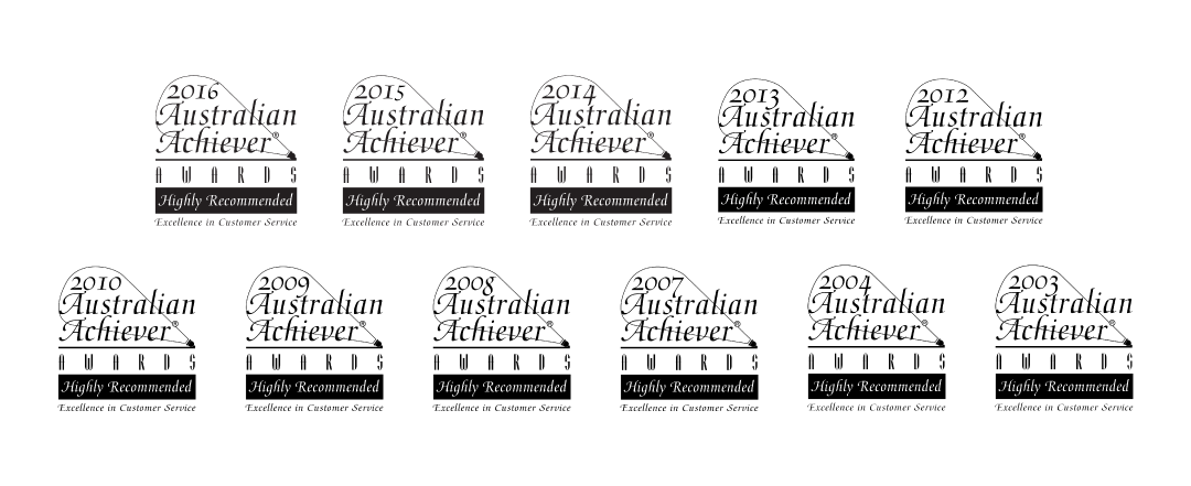 Award Seals; Australian Achiever Awards; 2003 to 2016; Excellence in Customer Service
