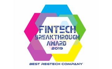 Award Seal; FinTech Breakthough Awards 2019 Best RegTech Solution