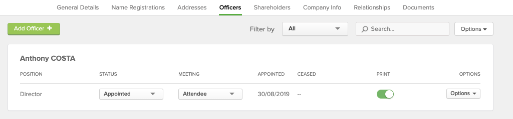 CAS 360 Company Changes. Change of officer example.