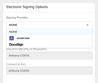 CAS 360 Company Changes. Electronic Signing Options.